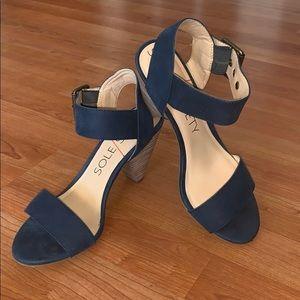 Sole Society Blue Missy Heeled Sandal 6
